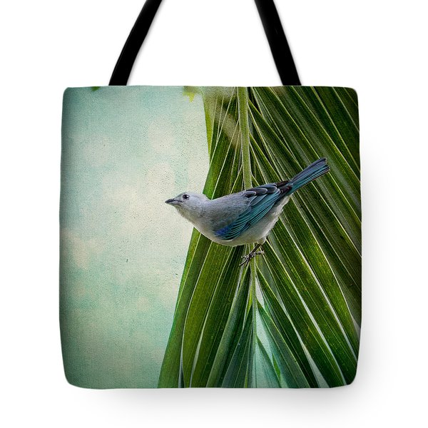 Blue Grey Tanager On A Palm Tree Tote Bag