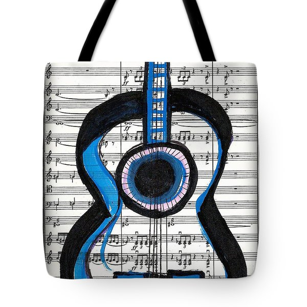 Blue Guitar Music Tote Bag