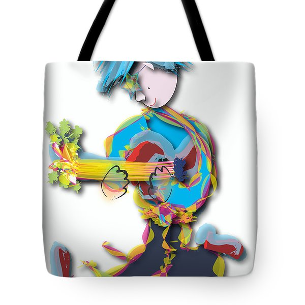Tote Bag featuring the digital art Blue Hair Guitar Player by Marvin Blaine