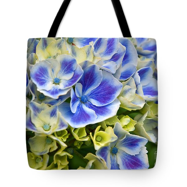 Tote Bag featuring the photograph Blue Harlequin Hydrandea Flower by Valerie Garner