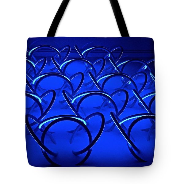 Tote Bag featuring the photograph Blue Haze Circles by Joan Reese