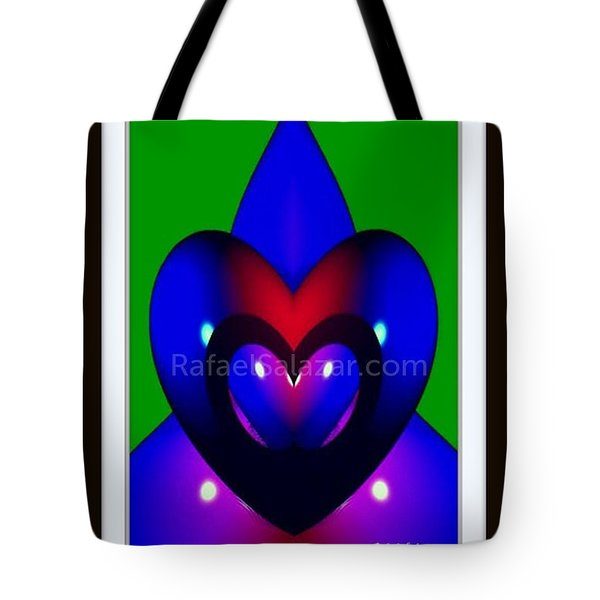 Tote Bag featuring the painting Blue Hearts by Rafael Salazar