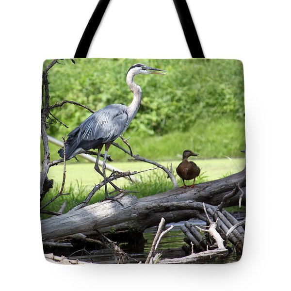 Blue Heron And Friend Tote Bag by Debbie Hart