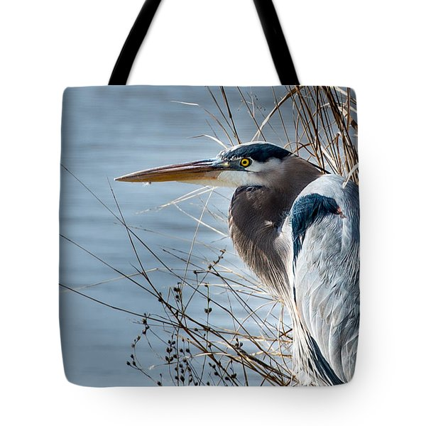 Blue Heron At Pond Tote Bag