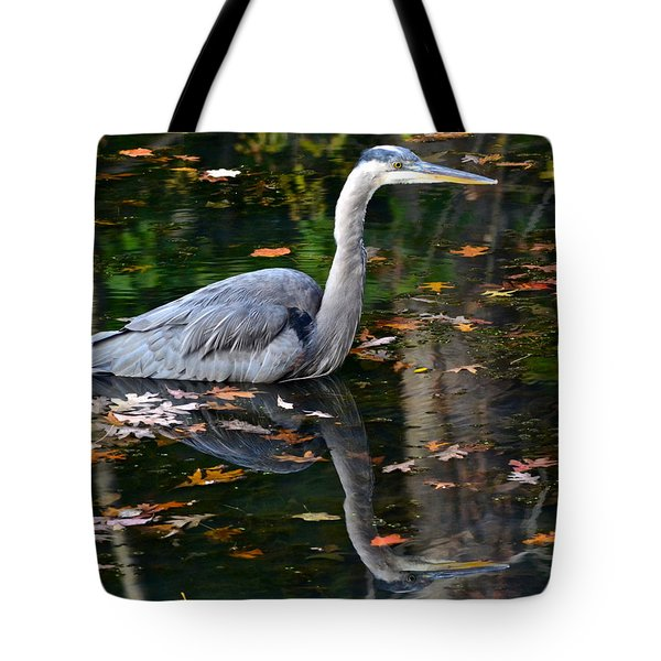 Blue Heron In Autumn Waters Tote Bag