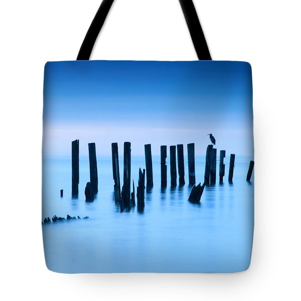 Tote Bag featuring the photograph Blue Heron In Blue by Jennifer Casey