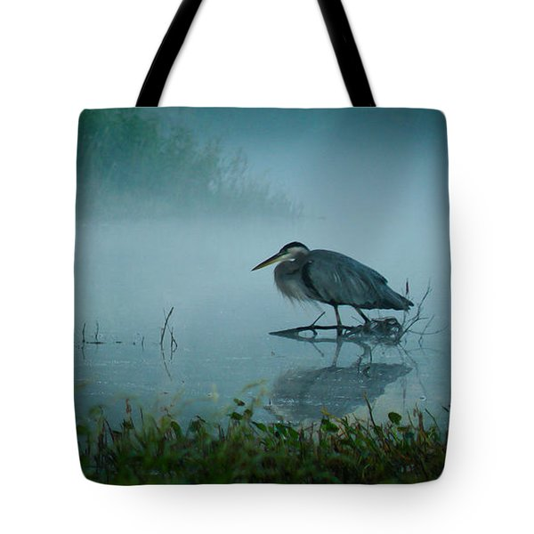 Blue Heron Morning Tote Bag by Deborah Smith