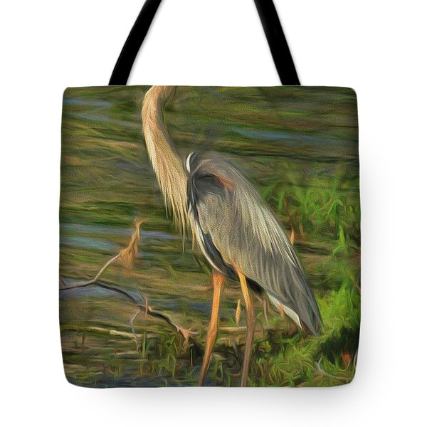 Blue Heron On The Bank Tote Bag