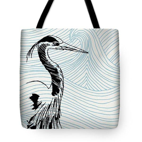 Blue Heron On Waves Tote Bag