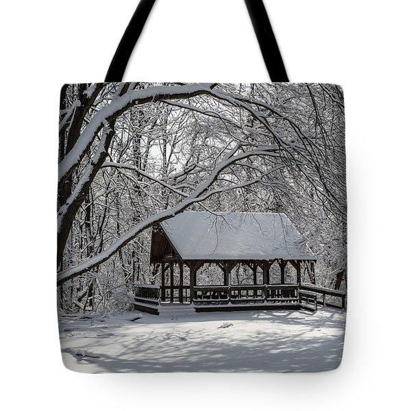 Blue Heron Park After Snowfall Tote Bag