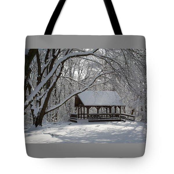 Blue Heron Park In Winter Tote Bag