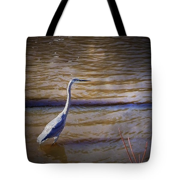 Blue Heron - Shallow Water Tote Bag by Brian Wallace