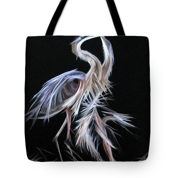 Tote Bag featuring the painting Blue Herons Mating Dance by LaVonne Hand