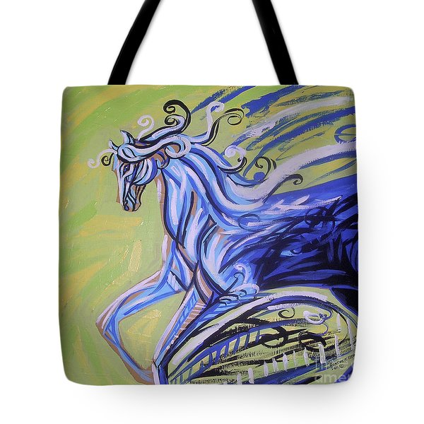 Blue Horse Tote Bag by Genevieve Esson
