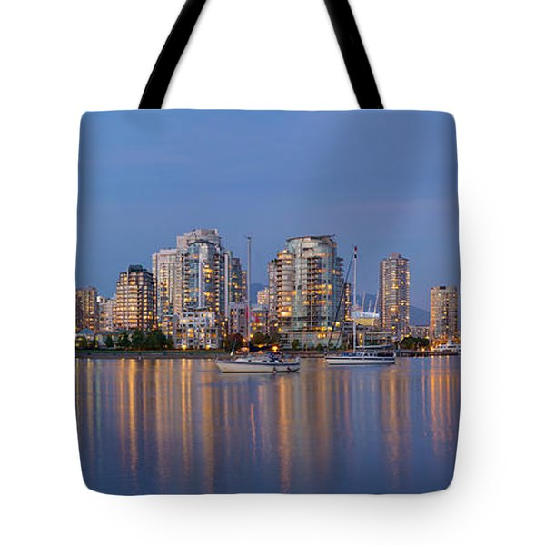 Tote Bag featuring the photograph Blue Hour At False Creek Vancouver Bc Canada by JPLDesigns