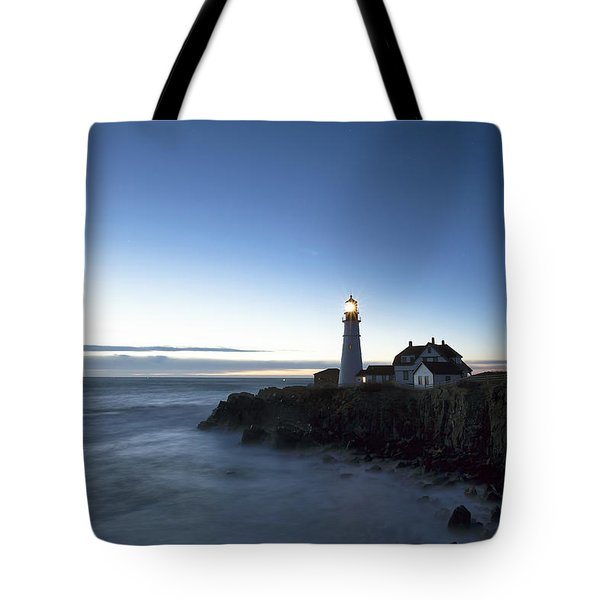 Blue Hour At Portland Head Tote Bag by Eric Gendron