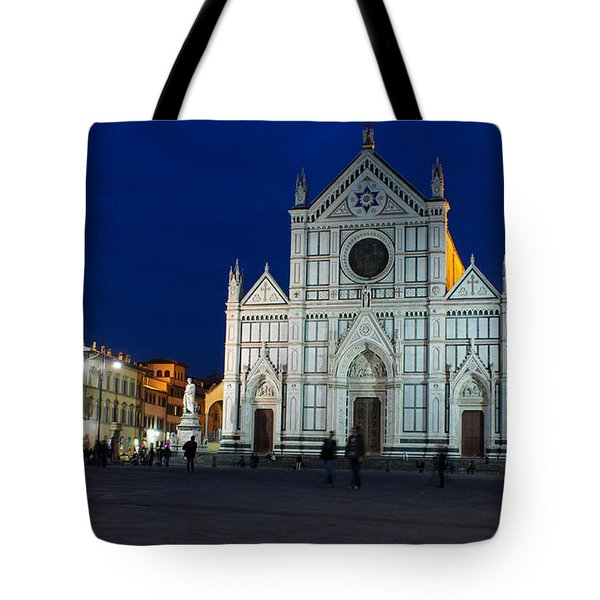 Blue Hour - Santa Croce Church Florence Italy Tote Bag