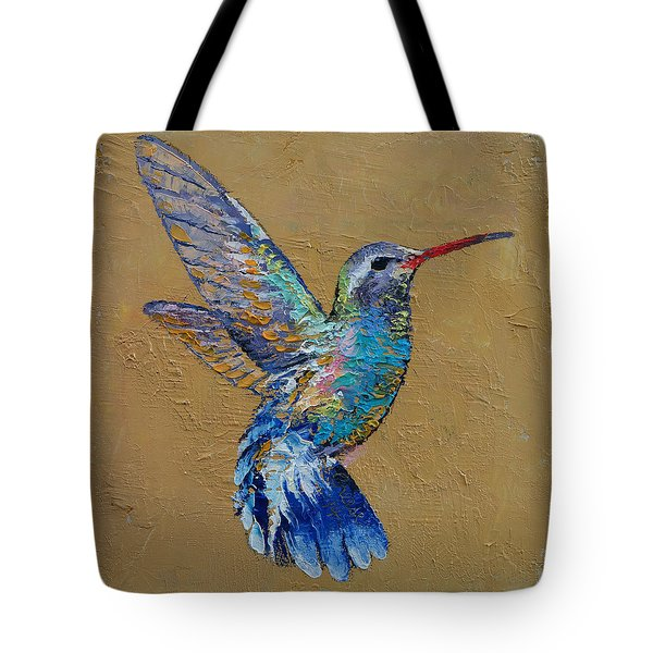 Turquoise Hummingbird Tote Bag by Michael Creese