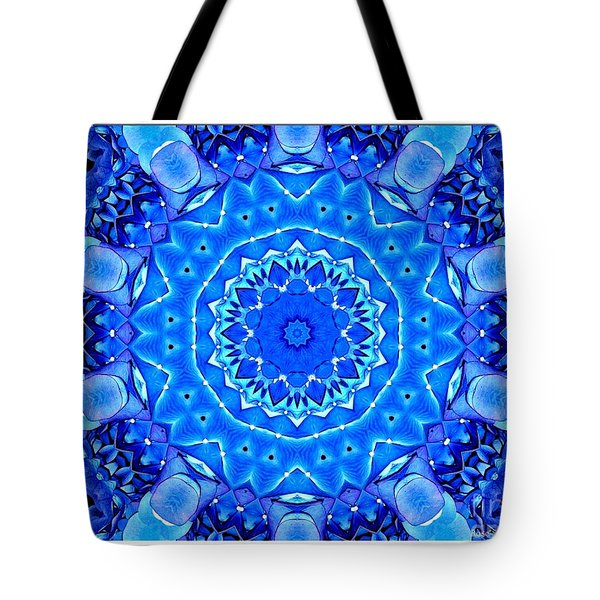 Tote Bag featuring the photograph Blue Hydrangeas Flower Kaleidoscope by Rose Santuci-Sofranko