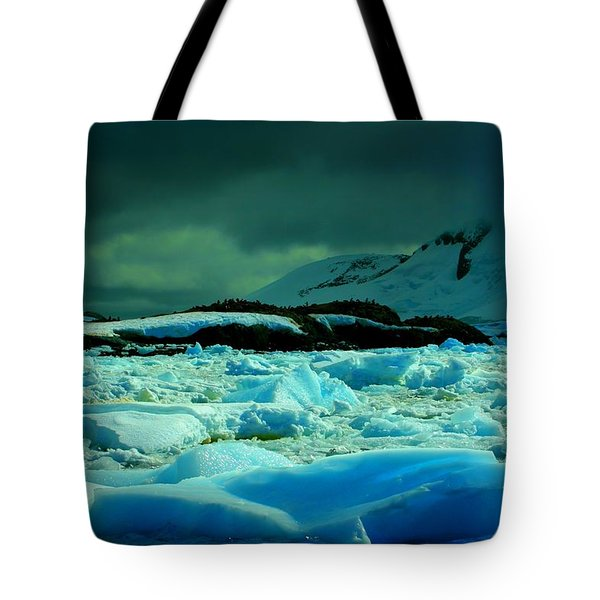 Tote Bag featuring the photograph Blue Ice Flow by Amanda Stadther