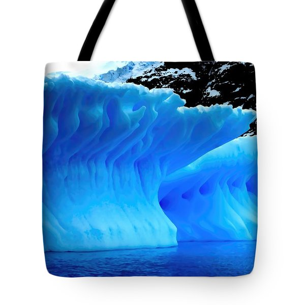 Blue Iceberg Tote Bag by Amanda Stadther