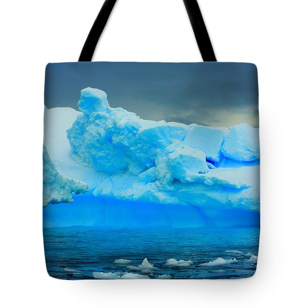 Tote Bag featuring the photograph Blue Icebergs by Amanda Stadther