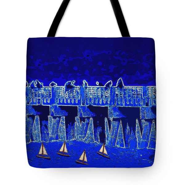 Blue II Toy Sailboats In Lake Worth Tote Bag by David Mckinney