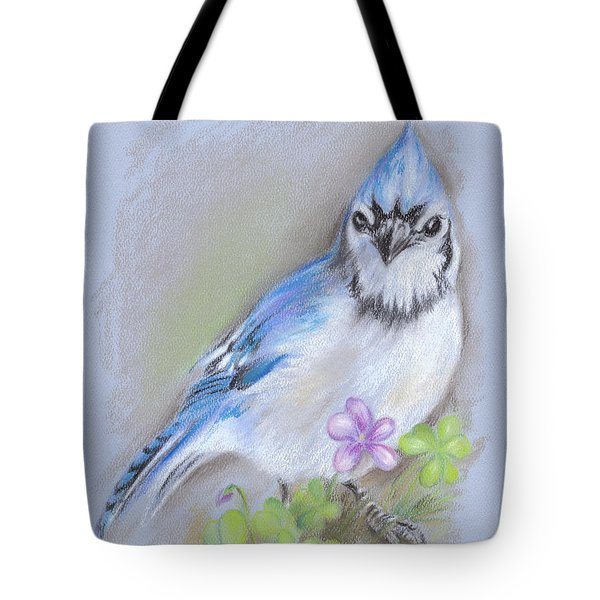 Blue Jay In Spring With Oxalis Tote Bag