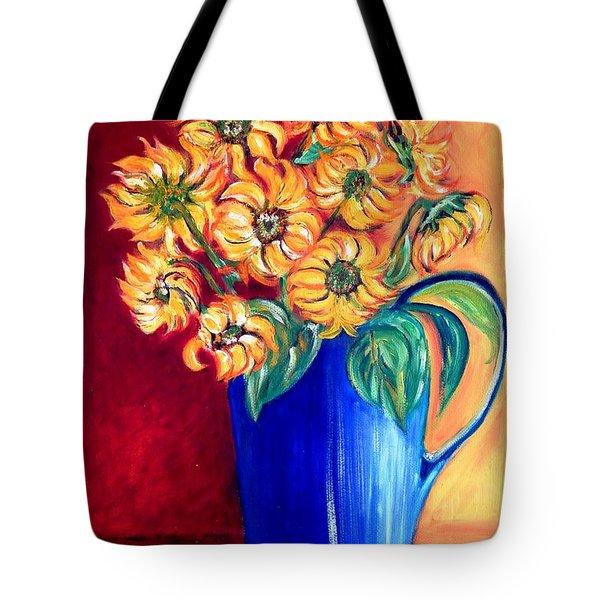 Blue Jug Yellow Flowers Tote Bag by Caroline Street