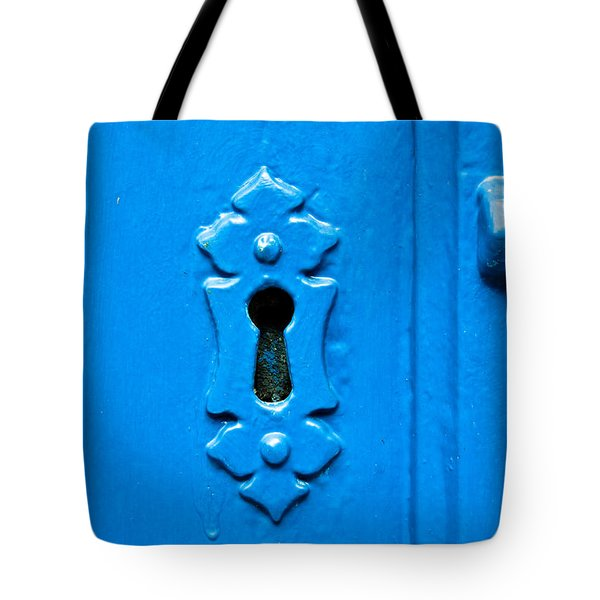 Blue Keyhole Tote Bag by Tom Gowanlock