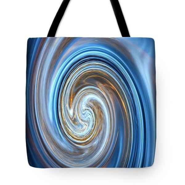 Blue Lagoon Swirls - Abstract Art Tote Bag by Carol Groenen
