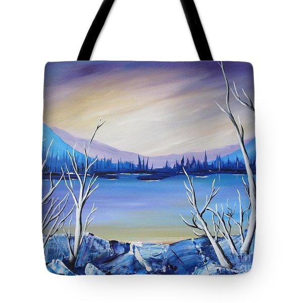 Blue Lake Tote Bag by Beverly Livingstone