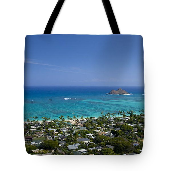 Blue Lanikai Overview Tote Bag by Sean Davey