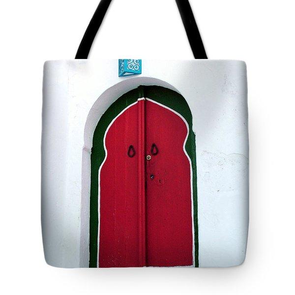 Blue Lantern Over Red Door Tote Bag