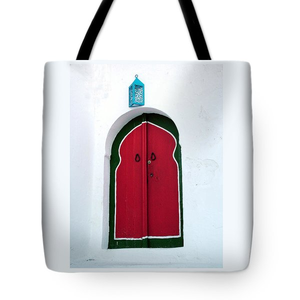 Blue Lantern Over Red Door Tote Bag