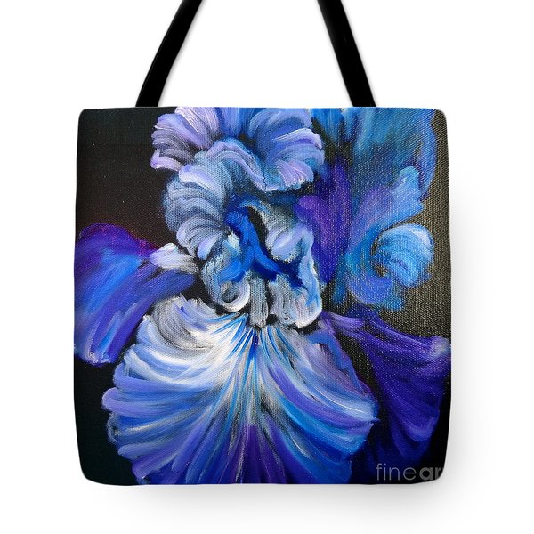 Blue/lavender Iris Tote Bag by Jenny Lee