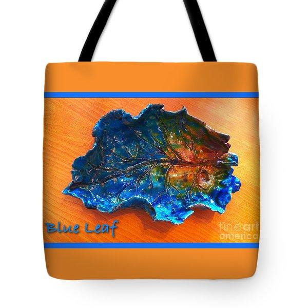 Blue Leaf Ceramic Design 3 Tote Bag by Joan-Violet Stretch