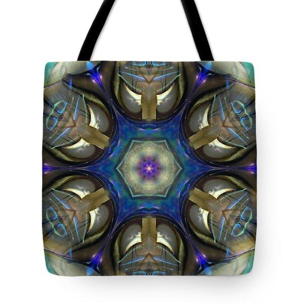 Blue Light Angel Mandala Tote Bag