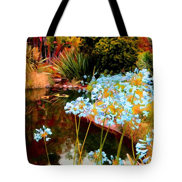 Blue Lily Water Garden Tote Bag by Amy Vangsgard