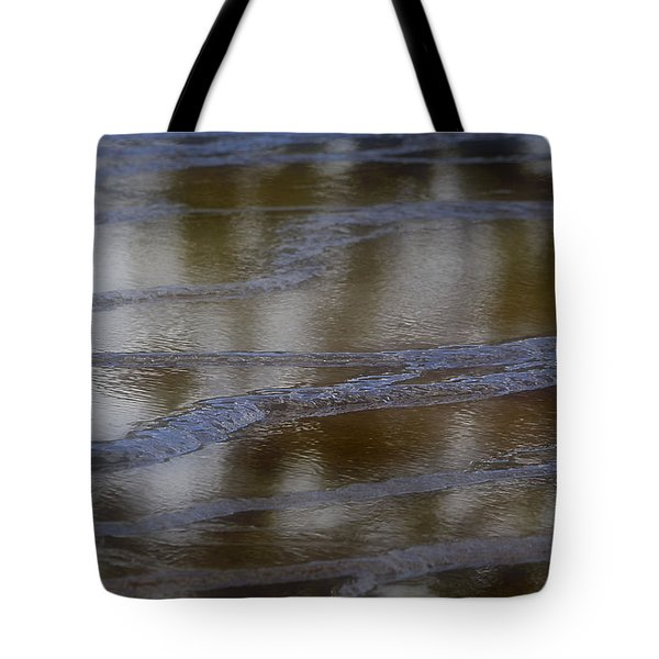Tote Bag featuring the photograph Blue Lines In The Reflecting Pool by Nadalyn Larsen