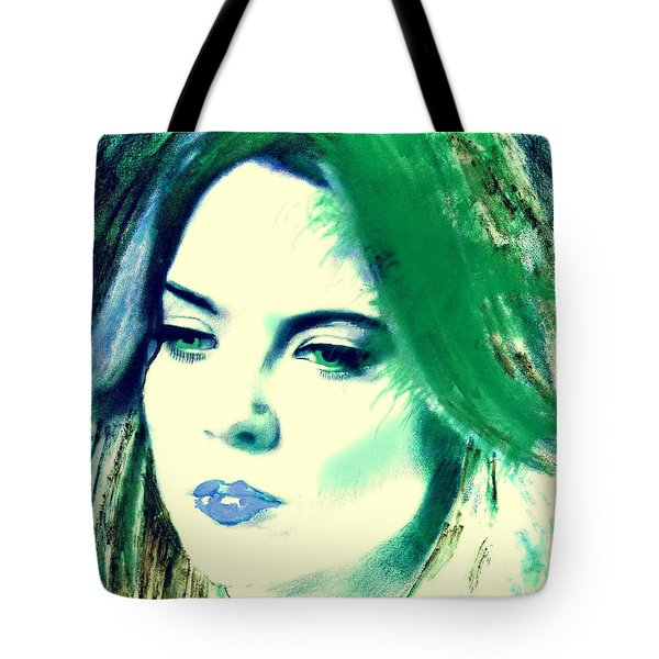 Blue Lips On Green Tote Bag by Kim Prowse