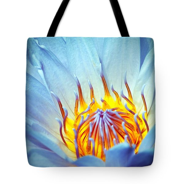Blue Lotus Tote Bag by Cynthia Guinn
