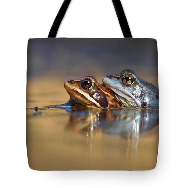 Blue Love ... Mating Moor Frogs  Tote Bag by Roeselien Raimond