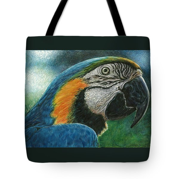Tote Bag featuring the drawing Blue Macaw by Sandra LaFaut