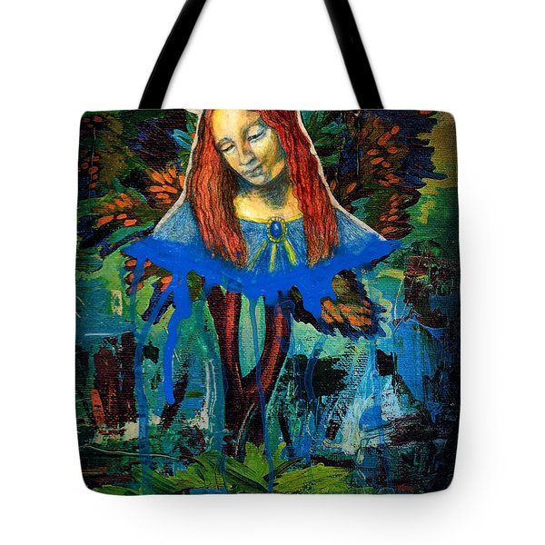 Blue Madonna In Tree Tote Bag by Genevieve Esson