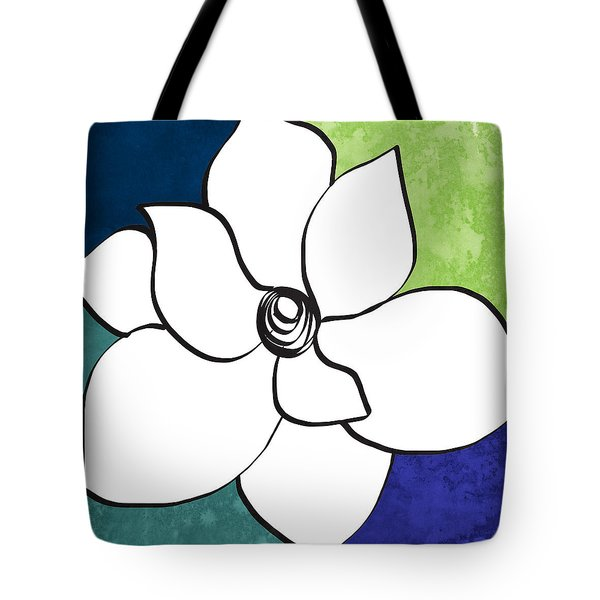 Blue Magnolia 2- Floral Art Tote Bag