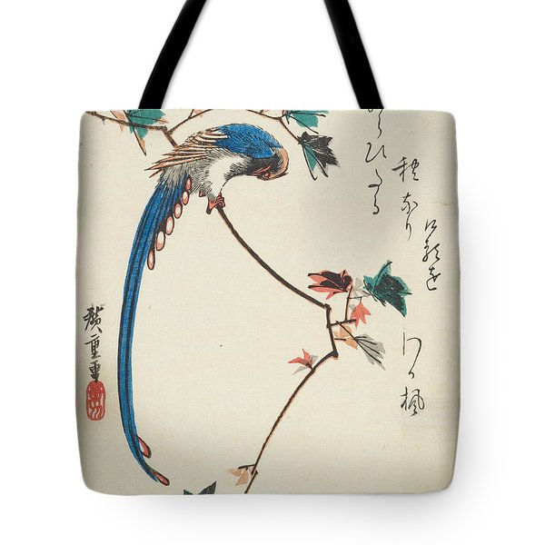 Blue Magpie On Maple Branch Tote Bag