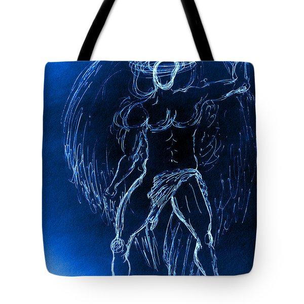 Blue Male Angel Tote Bag