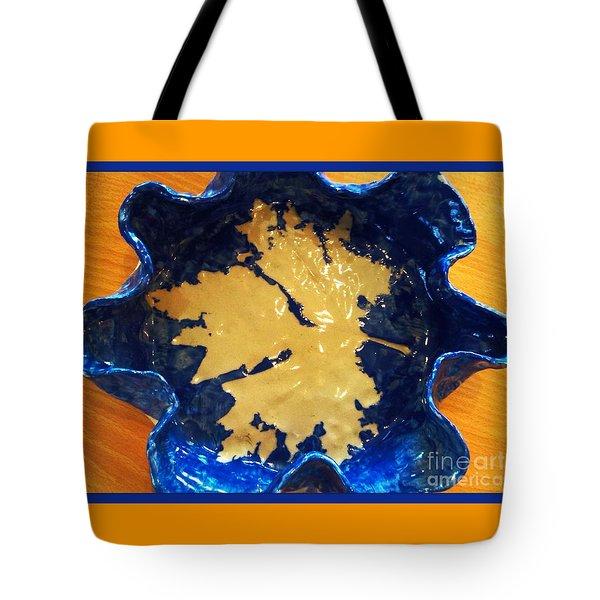Blue Maple Leaf Dish Tote Bag by Joan-Violet Stretch