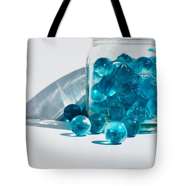 Tote Bag featuring the photograph Blue Marbles by Mary Hone